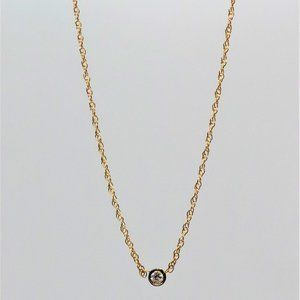 Jewelry - 14k Yellow Gold Diamond Solitaire Bezel Necklace